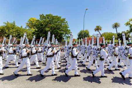 Seville, Spain - June 01, 2019: Military Emergency Unit (UME) during display of Spanish Armed Forces Day in Seville, Spain