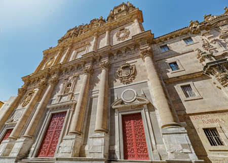 Facade of the clergy. Clergy is the name given to the building of the old Royal College of the Holy Spirit of the Society of Jesus, built in Salamanca. Spain.