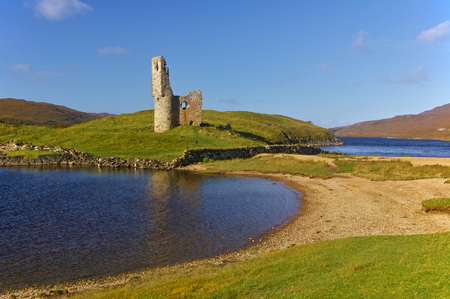 Ruin of Ardvreck Castle on the lakeshore of Loch Assynt, Scotland Editorial