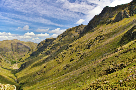 Lost Valley, Glencoe, Scotland with ridge and steep slopes
