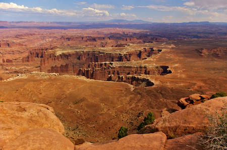 Aerial view of steep canyons from the top of a high mesa, Island In The Sky, Canyonlands National Park, Utah, USA