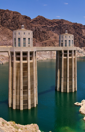 Two of the four intake towers of Hoover Dam, Lake Meade, USA Editorial