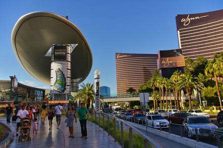 Las Vegas, NV, USA - June 29th, 2009 - View down Las Vegas Strip with Encore and Wynn casino