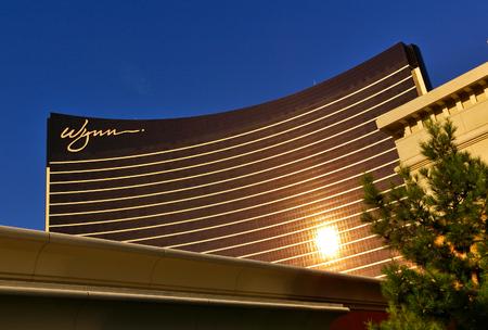 Las Vegas, NV, USA - June 29th, 2009 - Facade of Wynn casino reflecting the evening sun Editorial