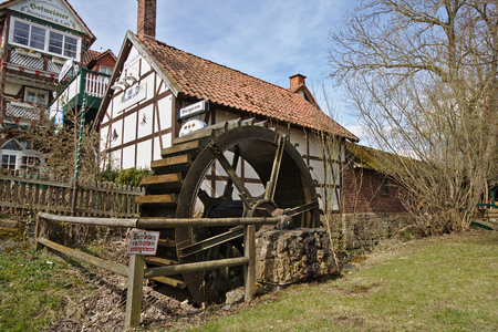 Adorf, Germany - March 31st, 2018 - Historical timber-framed inn with water mill