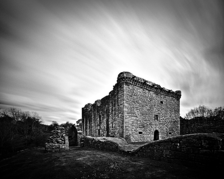 Lesmahagow, Scotland - May 11th, 2018 - Ruin of Craignethan Castle (long exposure)