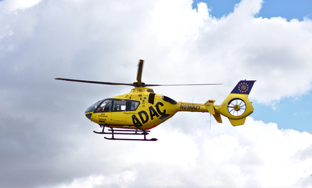 Bremen, Germany - July 10th, 2018 - Emergency rescue helicopter in flight 新聞圖片