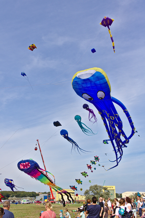 Lemwerder, Germany - August 18th, 2018 - Large blue kite in the shape of a giant octopus flying at the Lemwerder Kite Festival 新聞圖片
