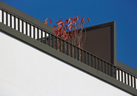 White building wall with diagonal brown balcony railing, red plant and blue sky Stock Photo