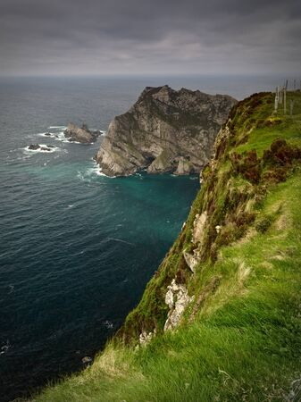 View from the top of the cliffs near Glencolumbkille, Co. Donegal over the Atlantic Ocean