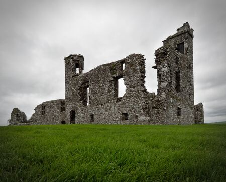 Ruins of a friary church and college on the Hill of Slane, Co. Meath, Ireland, that was built in 1512  on top of several much older places of worship and abandoned in 1723. Stock Photo