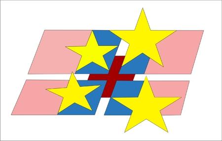 croix rouge: Drapeau Colorful Avec Croix-Rouge Company Logo