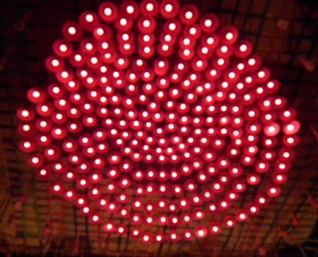 defocussed: Red Defocussed Lights Background Stock Photo