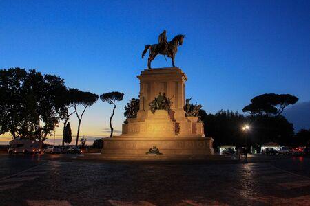 Statue of Giuseppe Garibaldi on side in blue hour