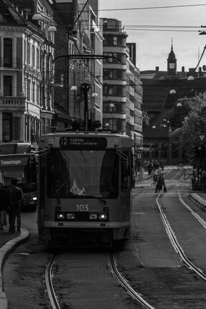 Oslo bus in the city black and white art Editorial