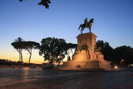 Statue of Giuseppe Garibaldi on the front side in blue hour