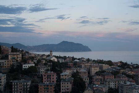 panorama to punta Chiappa, fantastic view in Nervi, GENOVA, Italy