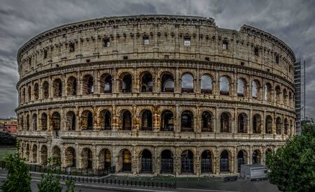 point of interest in Rome, the historical  colosseum area during the holidays trere was a competion , Knights and slaves also fight against the lions a few days, Stock Photo