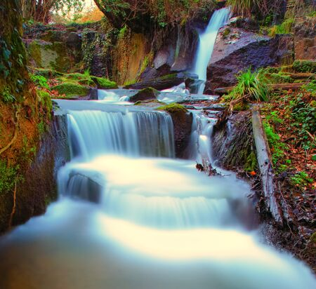 Monte Gelato waterfalls are a typical natural  beauty in the Lazio hinterland area colored vertical