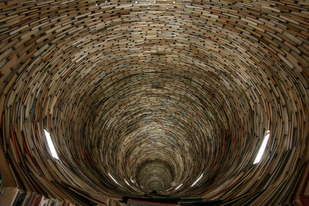 A picture of a tunnel made of books. Looking quite hypnotic. It is made of books and mirrors. Imagens