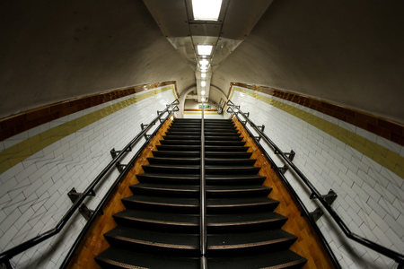 A picture from the tunnel of the London´s underground. The stairs and the claustrophobic surroundings.