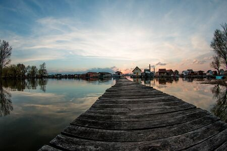 A picture taken by the Bokod lake in Hungary during the evening. The