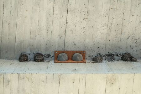 The artificial fake bird nests are hanging under the bridge on the concrete ceiling. Made to help the birds to have children fast.