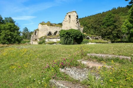 The ruins of the old cloister in Alvastra in Sweden suring the nice sumemr day. A tourist attraction. Stock fotó