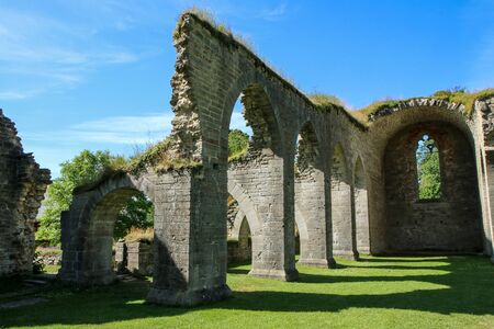 The ruins of the old cloister in Alvastra in Sweden suring the nice sumemr day. A tourist attraction. Stock fotó - 138182580