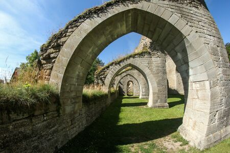 The ruins of the old cloister in Alvastra in Sweden suring the nice sumemr day. A tourist attraction. Stock fotó - 138182644