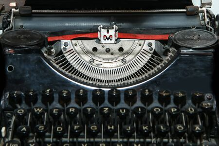 The detail picture of the old retro mechanical typewriter. Banco de Imagens