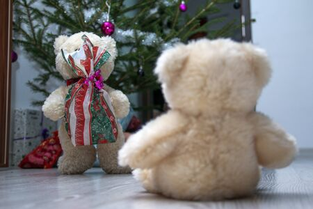Two cute teddy bears are sitting by the christmas tree. One is holding the christmas gift and giving it to the other one.