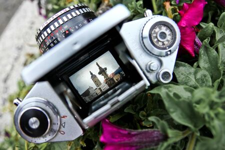 A view through the old reflex camera on the old historic town.