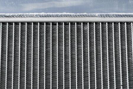 A detail of a ribbing of the car´s aluminium sport radiator.