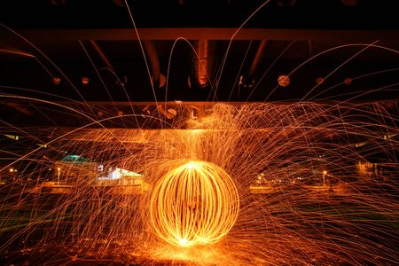 The picture of the fire circle made by burning steel wool. Looking quite impressive, because the picture is taken by a long exposure. Standard-Bild