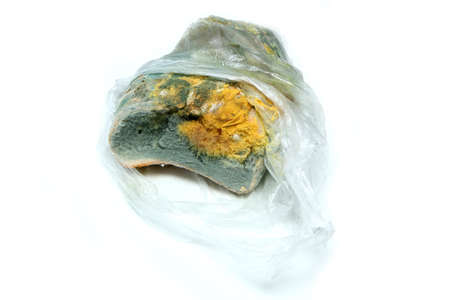 The picture of a fully mouldy bread because of the wrong storage in hdpe sack. Rotten and uneatable. Isolated on white background.