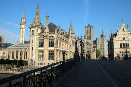 The picture from the old historic city of Ghent in Belgium. The nice and beautiful town, sight for the tourists. 免版税图像
