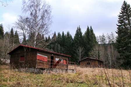 The abandoned child or scout camp site in the middle of the woods in Czech Republic. unused for long time. 免版税图像