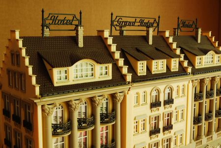 palatial: Hotel and Grand Hotel as Miniature Model Stock Photo