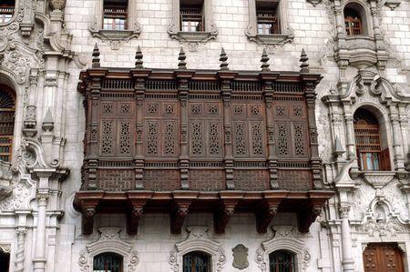 lima: wooden balcony in Perus Lima