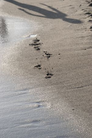 hereafter: footprints in the sand with symbolic meaning of transience