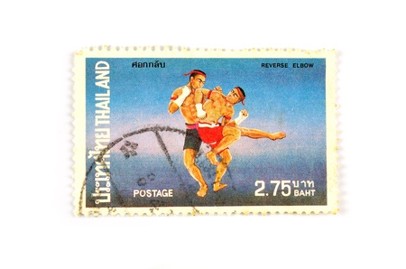reverse: Thai boxing Reverse Elbow Stock Photo
