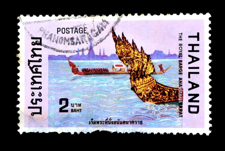 THAILAND - CIRCA NOVEBER 1975  A set of postag, jpge stamps printed in Thailand shows silhouette image figurehead of Thai royal barges, from the series  Royal Barges , circa November 18, 1975, THE ROYAL BARGE ANANTANAKARAT