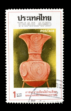 THAILAND - CIRCA 1976  A postage stamp printed in Thailand shows vintage rare pottery, from the series  Ban Chiang Painted Pottery , circa 1976
