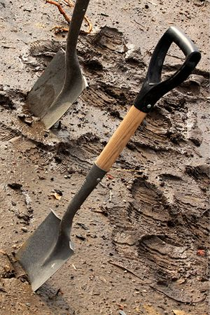 shovels in mud photo
