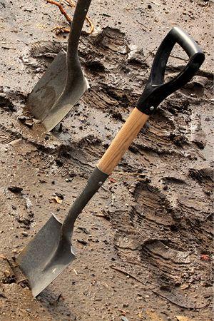 shovels in mud Stok Fotoğraf