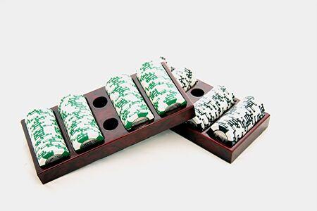 poker chips in tray Stok Fotoğraf