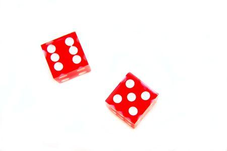 eleven: red dice eleven Stock Photo