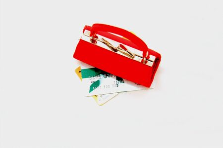 クレジット カードで赤コイン財布 写真素材