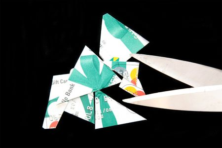 가위 및 신용 카드 인하 스톡 콘텐츠
